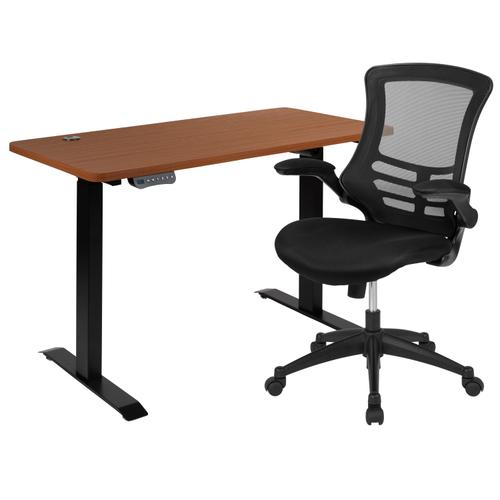 """Gallery - 48""""W x 24""""D Mahogany Electric Height Adjustable Standing Desk with Black Mesh Swivel Ergonomic Task Office Chair"""
