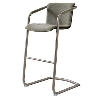 Indy Fabric Bar Stool Silver Frame, Sage Green/Velvet Green