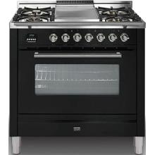 Professional Plus 36 Inch Gas Natural Gas Freestanding Range in Glossy Black with Chrome Trim