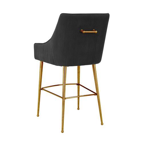 Tov Furniture - Beatrix Pleated Black Velvet Counter Stool