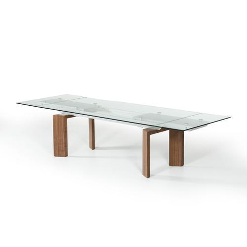 Modrest Bijou Contemporary Extendable Walnut & Glass Dining Table