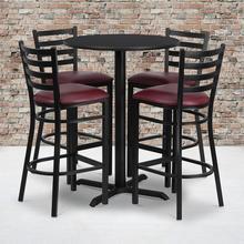 Product Image - 30'' Round Black Laminate Table Set with X-Base and 4 Ladder Back Metal Barstools - Burgundy Vinyl Seat