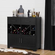 Vietti - Bar Cabinet and Bottle Storage, Black Oak