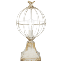 Distressed Ivory & Gold Sphere with Bird Lamp. 60W Max.