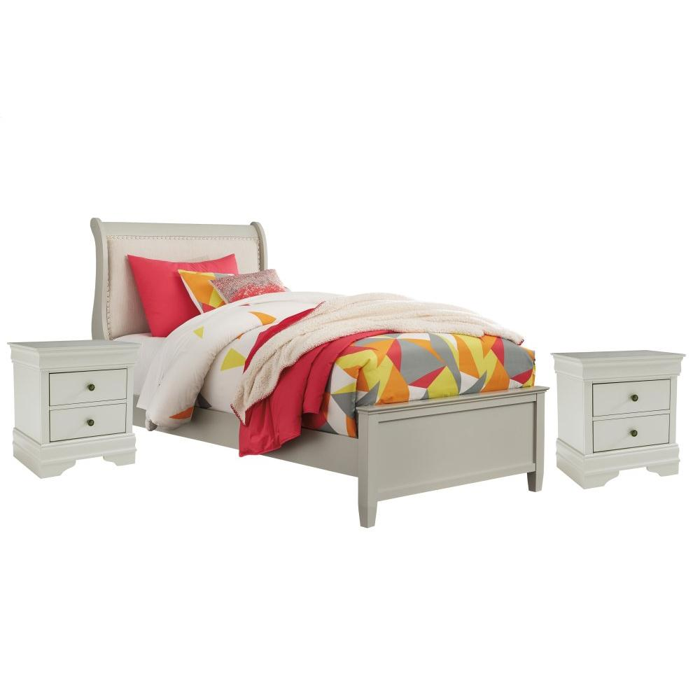 Twin Sleigh Bed With 2 Nightstands