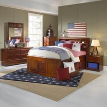 See Details - Merlot Twin Bookcase Captains Bed