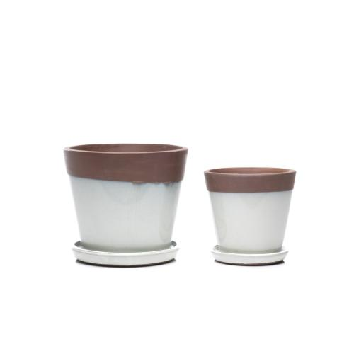 Sirius Mezzo Planter w/ attached saucer - Set of 2