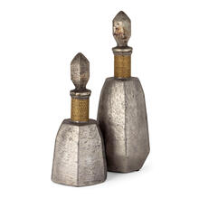 Lilou Grey Glass Bottles With Stoppers - Set of 2