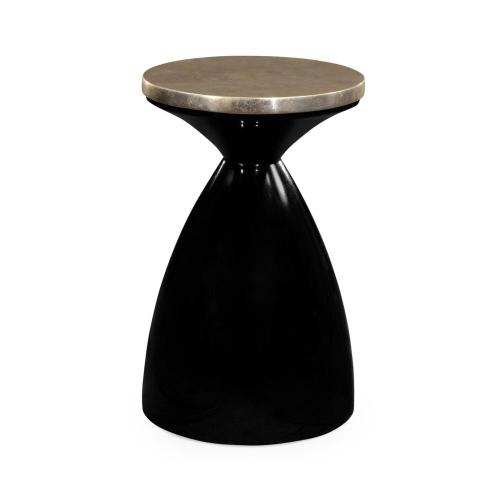Smoky Black round wine table with Silver Espresso top
