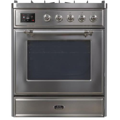 Ilve - Majestic II 30 Inch Dual Fuel Liquid Propane Freestanding Range in Stainless Steel with Chrome Trim