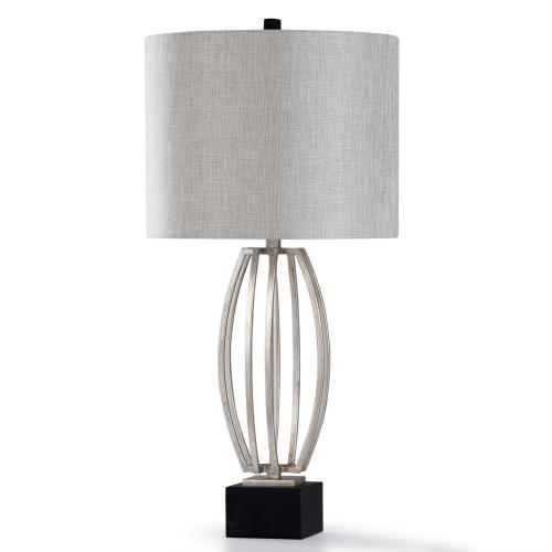 Product Image - SILVER LEAF  33in X 16in  Traditional Steel Table Lamp with Fabric Shade