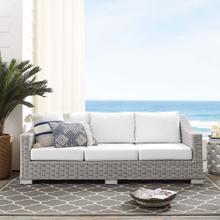 Conway Sunbrella® Outdoor Patio Wicker Rattan Sofa in Light Gray White