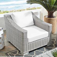 Conway Sunbrella® Outdoor Patio Wicker Rattan Armchair in Light Gray White