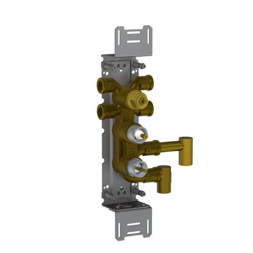 Thermostatic mixer with 4-way diverter for vertical mounting
