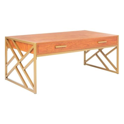 Safavieh - Elaine 2 Drawer Coffee Table - Natural / Gold