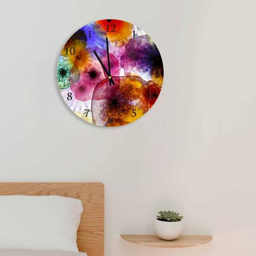 Grako Design - Colorful Mexican Bowls Round Square Acrylic Wall Clock