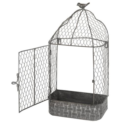 Greywashed Chicken Wire Birdcage Wall Planter (2 pc. set)