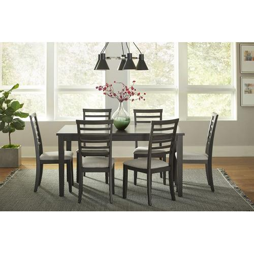 Gallery - Baggio Dining Table and 6 Upholstered Chairs Set, Brown