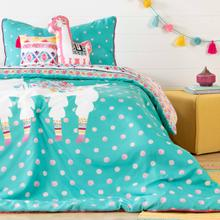 Dreamit - Kids Bedding Set Festive Llama, Turquoise, Twin