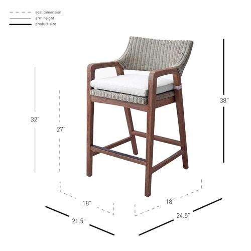 Product Image - Shiloh Rattan Counter Stool w/ Arms, Greige Gray