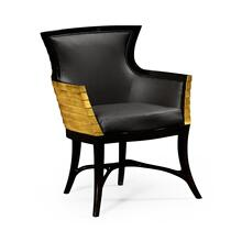 Stepped Gilded Tub Easy Chair, Upholstered in Dark Chocolate Leather