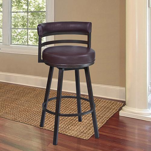 """Armen Living Madrid 26"""" Barstool in Auburn Bay finish with Brown Pu upholstery"""