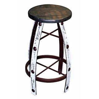 White Scraped Round Barstool