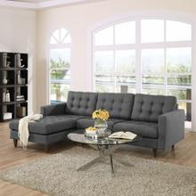 Empress Left-Facing Upholstered Fabric Sectional Sofa in Gray