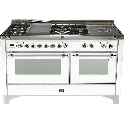 Gallery - True White with Chrome trim - Majestic 60-inch Range with Griddle