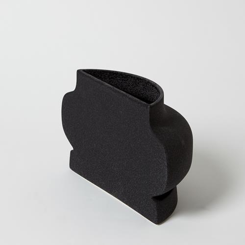 Flat Back Vase-Black Crust-Sm