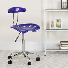 View Product - Vibrant Deep Blue and Chrome Swivel Task Office Chair with Tractor Seat