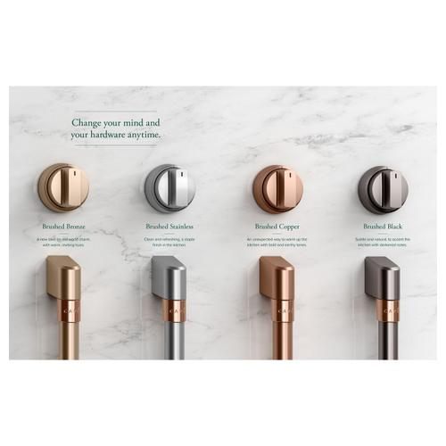 Café Front Control Electric Knobs and Handles - Brushed Stainless