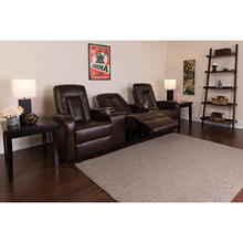 Eclipse Series 3-Seat Reclining Brown LeatherSoft Theater Seating Unit with Cup Holders