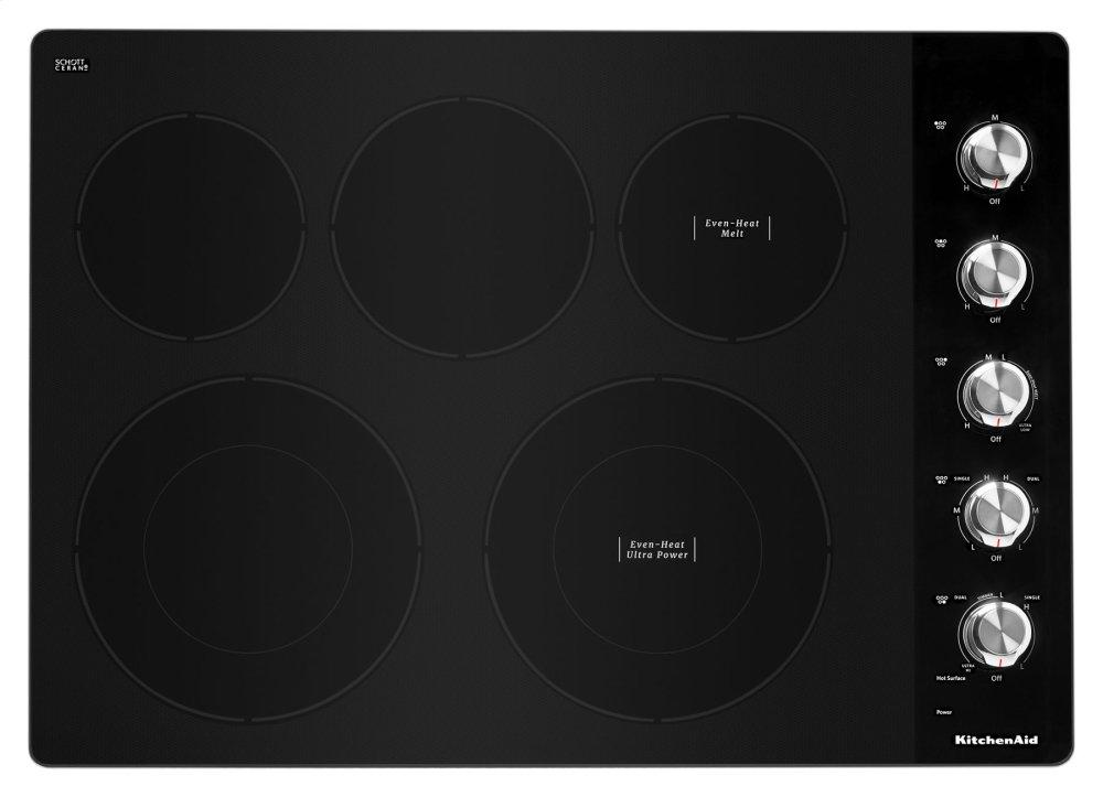 """Kitchenaid30"""" Electric Cooktop With 5 Elements And Knob Controls - Stainless Steel"""