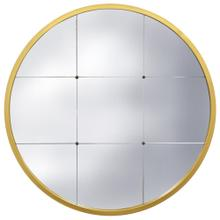 See Details - GRAYSON GOLD MIRROR  30in w. X 30in ht. X 1in d.  Metal Frame Window Panel Wall Miror