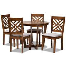 See Details - Baxton Studio Alena Modern and Contemporary Grey Fabric Upholstered and Walnut Brown Finished Wood 5-Piece Dining Set