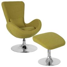 See Details - Egg Series Green Fabric Side Reception Chair with Ottoman