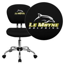 Le Moyne College Dolphins Embroidered Black Mesh Task Chair with Chrome Base