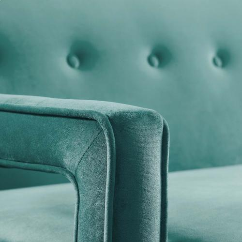 Concur Button Tufted Performance Velvet Sofa in Teal