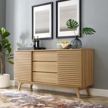 """See Details - Render 63"""" Sideboard Buffet Table or TV Stand in Oak"""