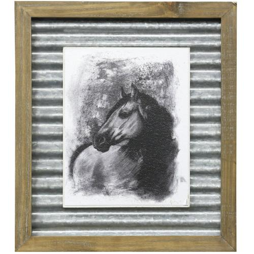 Style Craft - CHARCOAL EQUESTRIAN IV  16in X 14in  Made in the USA  Textured Framed Print