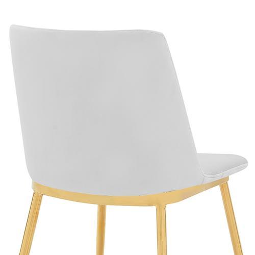 Armen Living - Messina Modern White Velvet and Gold Metal Leg Dining Room Chairs - Set of 2