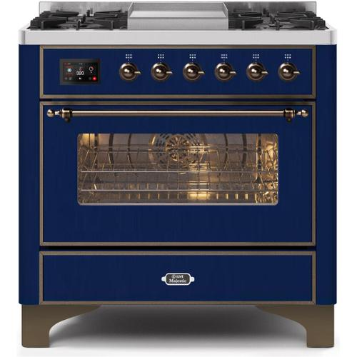 Gallery - Majestic II 36 Inch Dual Fuel Natural Gas Freestanding Range in Blue with Bronze Trim