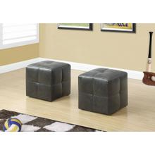 OTTOMAN - 2PCS SET / JUVENILE/ CHARCOAL GREY LEATHER-LOOK