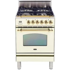 Nostalgie 24 Inch Gas Liquid Propane Freestanding Range in Antique White with Brass Trim