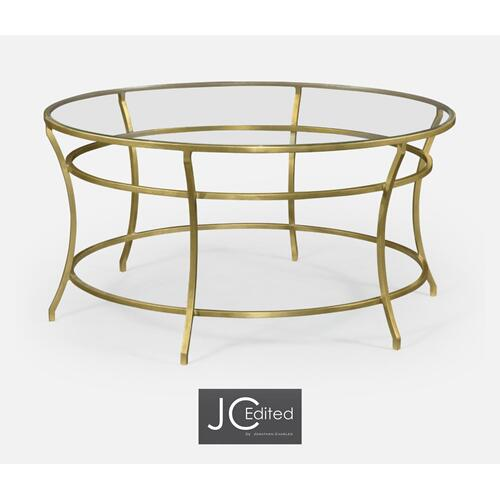 Gilded Iron Round Coffee Table with A Clear Glass Top
