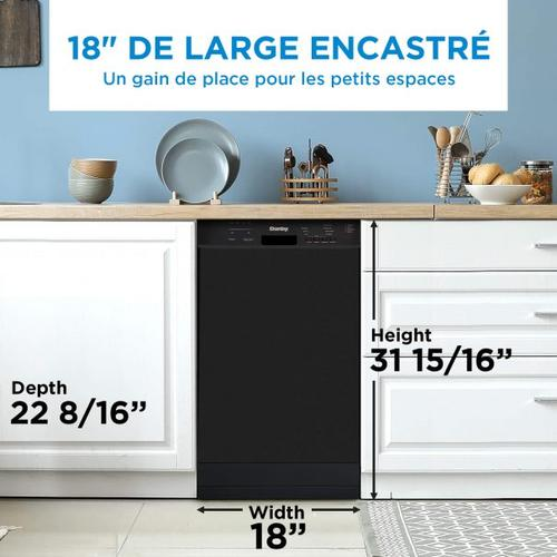 Danby Canada - Danby 18 Built-in Dishwasher with Front Controls (Black)