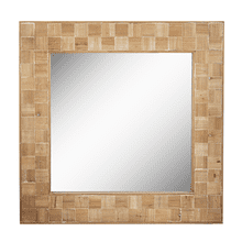 See Details - Reclaimed Wood Check Inlay Wall Mirror (Each One Will Vary)