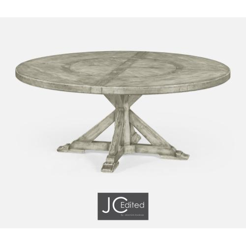 """72"""" Rustic Grey Round Dining Table with Inbuilt Lazy Susan"""