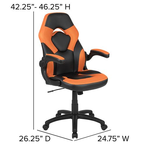 Gallery - Black Gaming Desk and Orange\/Black Racing Chair Set with Cup Holder, Headphone Hook & 2 Wire Management Holes